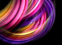 Fluidu gładki falowy abstrakcjonistyczny tło, płynie rozjarzonego koloru ruchu pojęcie, modny abstrakcjonistyczny układu szablon  royalty ilustracja