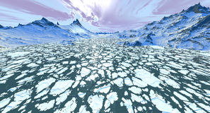 Fluindo Floes de gelo Fotografia de Stock