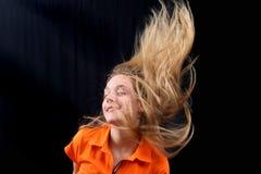 fluing的女孩头发年轻人 图库摄影