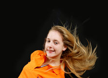 Fluing  hair - young girl Stock Photo