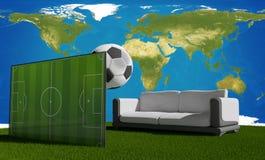 Fluir el juego de partido de fútbol 3d-illustration Elementos de este im Fotografía de archivo