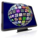 Fluir iconos contentos en las pantallas de la televisión de la TVAD Imágenes de archivo libres de regalías