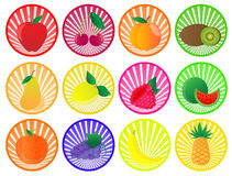 Fluit buttons. Set of fruits on the striped background Royalty Free Stock Image