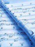 Fluit en muziekscore Stock Fotografie