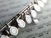 Fluit op muzikale score Stock Foto's