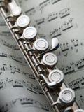 Fluit op muzikale score Royalty-vrije Stock Afbeelding