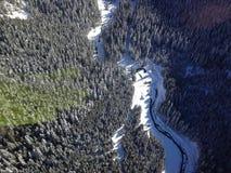 Fluiter Heli Skiing royalty-vrije stock fotografie