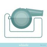 Fluitje met kettings vlak pictogram Stock Afbeeldingen