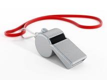 Fluitje met rode kabel royalty-vrije stock fotografie