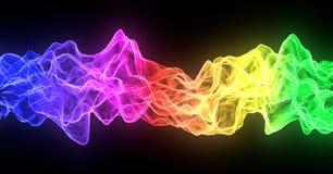 Flujo abstracto del fuego del humo del arco iris, colorido en fondo negro stock de ilustración