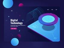 Flujo de datos grande entrante, tratamiento de la información digital, sitio del servidor, datacenter e iconos de la base de dato libre illustration