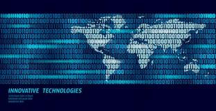 Flujo de intercambio de datos global del código binario de la tierra del planeta Concepto azul del negocio de la información pers ilustración del vector