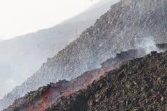 Flujo de lava de día Foto de archivo libre de regalías