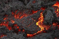 Flujo de lava que brilla intensamente, volcán Pacaya Fotografía de archivo