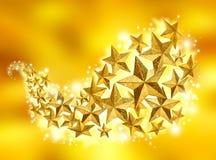 Flujo de oro de la celebración de las estrellas Foto de archivo libre de regalías