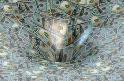 Flujo del dólar en agujero de las finanzas Imagenes de archivo