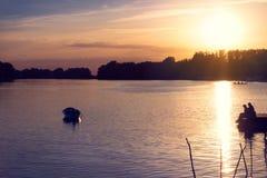 Flujo del río de la salida del sol Imagen de archivo libre de regalías