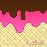 Flujo derretido del chocolate y del esmalte abajo en una oblea stock de ilustración
