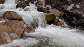 Flujos ásperos del río de la montaña entre piedras grandes almacen de metraje de vídeo