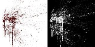 Flujos de sangre en una pared blanca Ejemplo de Digitaces con el mate alfa a componer representación 3d stock de ilustración