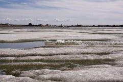Flujos del hielo el Océano ártico y cristales de hielo imagen de archivo