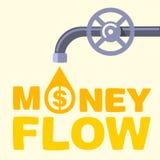 Flujos del texto del flujo de dinero hacia fuera el grifo Fotografía de archivo