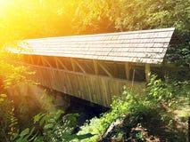 The Flume Gorge wooden Sentinel Pine Bridge royalty free stock photo
