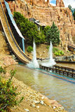 Flume ride: log car splashes down Stock Photo