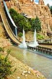 Flume ride: log car splashes down stock photo