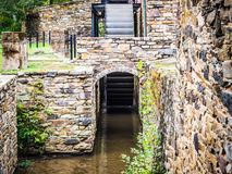 Flume and Waterwheel at Historic Mill Stock Photo