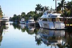 Flume & yachts in Fort Lauderdale, Florida Royalty Free Stock Image