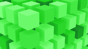 Fluo Green Boxes Background. Abstract aligned green cubes background Stock Image