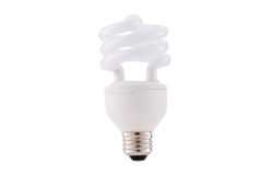 Fluocompact mini light-bulb isolated on white background Stock Photos