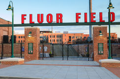 Fluor Field Greenville South Carolina. Entry gates at Fluor Field baseball stadium, modeled after Fenway Park, with seats for 5,700 patrons and  located in the Stock Image