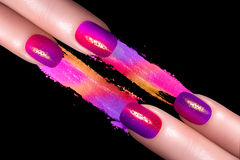 Fluor Nail Polish and Mineral Colorful Eye Shadow Stock Image