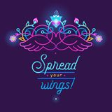 Fluorescence emblem with heart, wings, floral decoration vector illustration