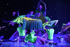 Fluorescence fan-June lotus-The national folk dance Stock Photo