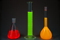Fluorescence in flasks Royalty Free Stock Photo