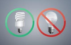Fluorescence and incandescent bulbs Stock Photos