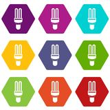 Fluorescence lamp icon set color hexahedron Stock Images