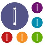 Fluorescence lamp icons set Stock Images