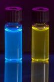 Fluorescencia de soluciones Foto de archivo