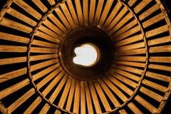 fluorescencyjne żarówki w drewnianej lampie (CFL) Obraz Stock