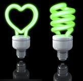 Fluorescencyjne lampy, ruszać się po spirali kształtnego, serce kształtujący, zieleni łuna, 3d rendering na ciemnym tle ilustracja wektor