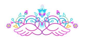 Fluorescensemblem med hjärta, vingar, blom- garnering vektor illustrationer