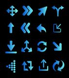 Fluorescent blue arrows Stock Photos
