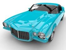 Fluorescent blue classic American vintage car - engine hood closeup shot Stock Photo