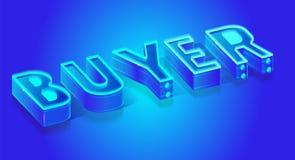 Fluorescent Blue Neon Banner for Buyer Startup. Creative Illuminated Neon 3d Banner for Buyer Expert. Trendy Shopping Concept. Modern Vector Isometric stock illustration