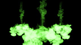 Fluorescent bright green colour interfuse in water , many drops ink . This is 3d render shot in slow motion for ink stock video footage