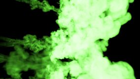 Fluorescent bright green gouache float in water , many drops ink . This is 3d render shot in slow motion for ink. Backgrounds or ink effects in compositing with stock video footage